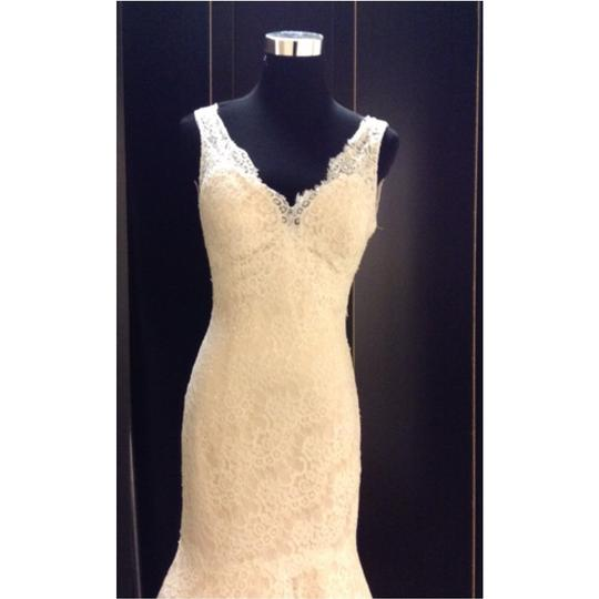 Allure Bridals Ivory/Champagne Lace Formal Wedding Dress Size 4 (S)