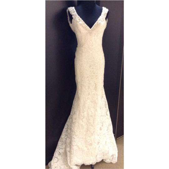 Allure Bridals Ivory/Champagne Lace Formal Wedding Dress Size 2 (XS)