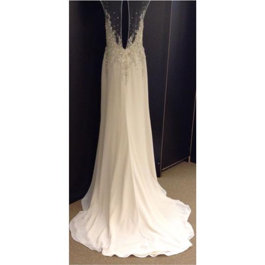 Maggie Sottero Ivory/Nude Chiffon Zarina Desiree Heartstock Collection Formal Wedding Dress Size 8 (M)