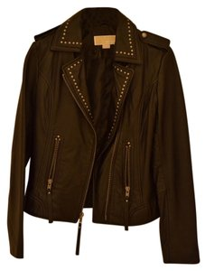 Michael Kors Studded Leather Edgy Moto Biker Chic Soft Petite Small Leather Cool Sleek Leather Jacket