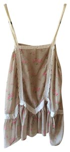 Free People Top Tan/Pink Flowers