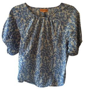 Roberta Roller Rabbit Top White/Blue Flowers