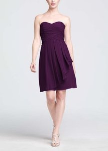 David's Bridal Plum Short Crinkle Chiffon Dress With Front Cascade Style F14847 Dress