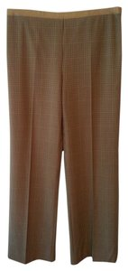 BCBGMAXAZRIA Leather-trimmed Side Zipper Plaid Trouser Pants Brown