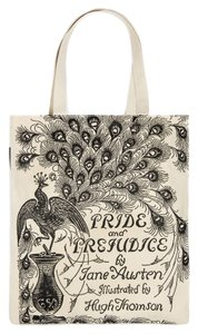 Out of Print Clothing Tote in White, Black