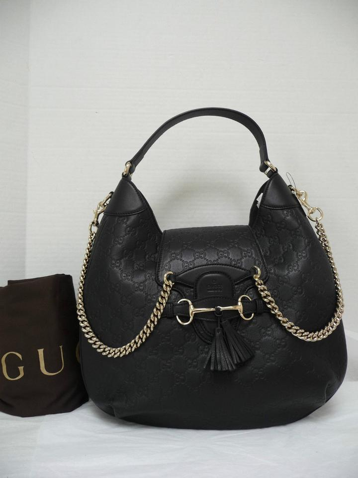 941c4649788d6a Gucci Emily Large Guccissima Monogram Chain New Black Leather Hobo ...