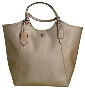 Coach Metallic Metallic Large Saffiano Leather Tote in Gold