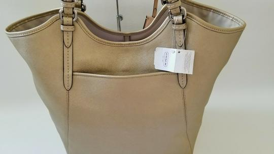 Coach Metallic Metallic Large Saffiano Leather Vertical Tote in Gold