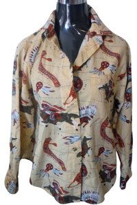 Westbound Cotton Button Down Shirt yellow vintage print