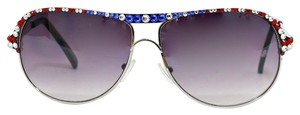 Crystal Accent American Flag Patriotic USA Ombre Aviator Sun Glasses And Free case