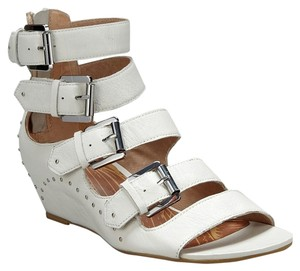 Matiko Studded Hidden Strappy White Wedges
