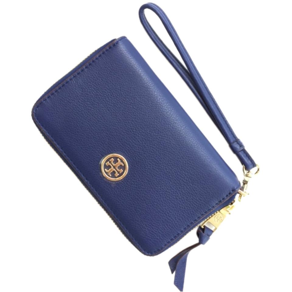 83784be137fd Tory Burch Navy Robinson New Pebbled Smartphone Wristlet Wallet ...