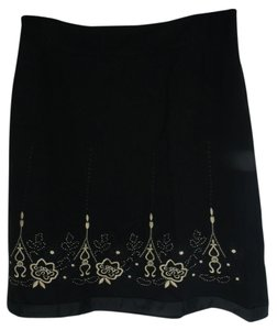 Ann Taylor LOFT Embroidered Skirt black