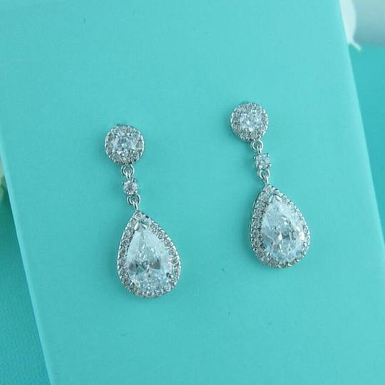 Zircon Cz Diamond Flower Stud Crystal Cluster Bridesmaid Water Drop Fall Clear Transparent Earrings