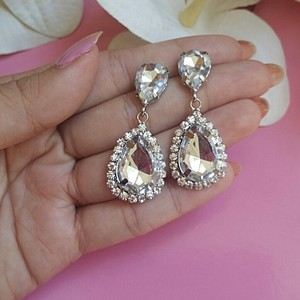 Zircon Cz Diamond Flower Stud Crystal Cluster Earring Bride Bridesmaid Water Drop Fall Clear Transparent