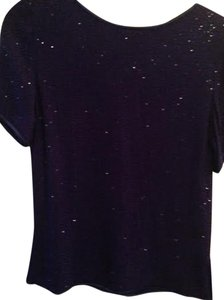 Oleg Cassini Beaded Glamour Sparkly Holiday Exquisite Top Blue