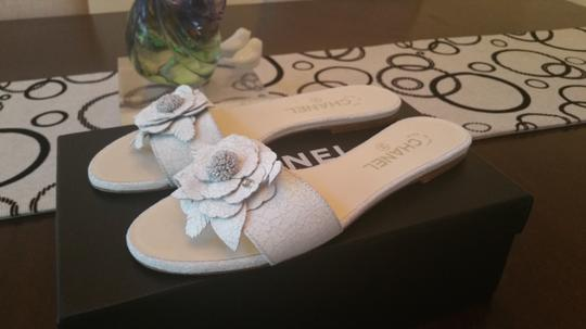 Chanel Crackled Leather White Sandals