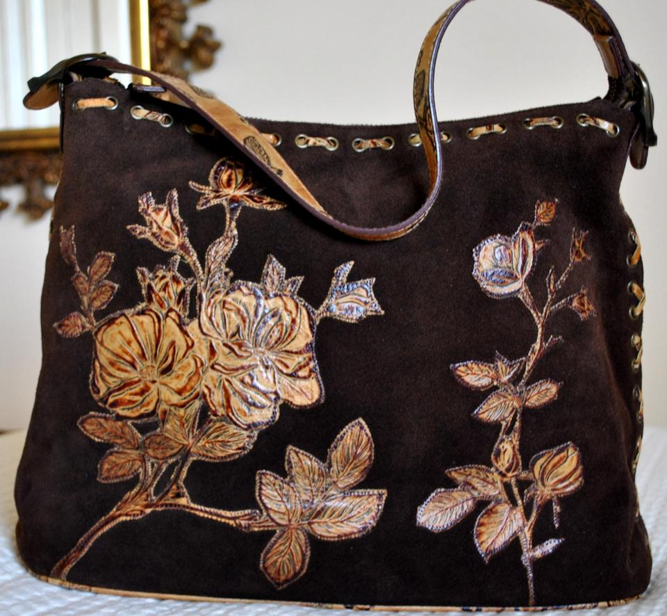 673d89966a5c Isabella Fiore Designer Hand Tooled Floral Zipper Autumn Winter Gift Brown Tan  Suede Leather Shoulder Bag