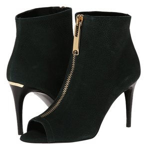 Burberry Leather Italy Peep Toe Ankle Zipper Heel Green dark Green Boots