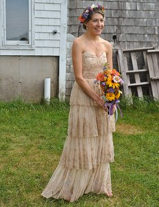 BHLDN Beige/Cream Rosecliff Gown Vintage Wedding Dress Size 2 (XS)