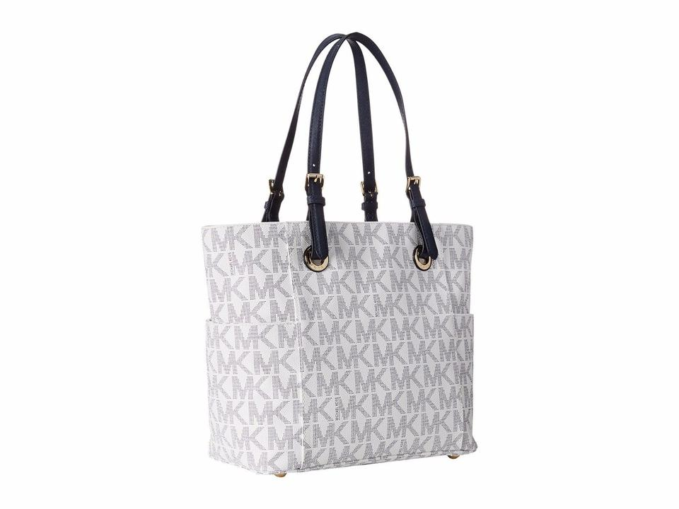 f42f8e0370cf Michael Kors Jet Set Mk Logo East West Signature Tote in NAVY WHITE Image  7. 12345678