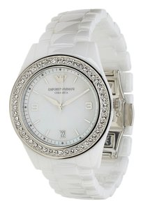 Emporio Armani Emporio Armani Women's Polished White Ceramic MOP Dial Crystallized Glitz Watch AR1426
