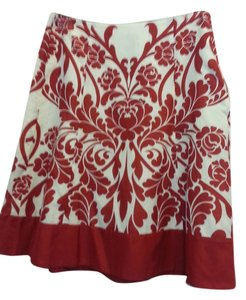 Ann Taylor Skirt Red and off white