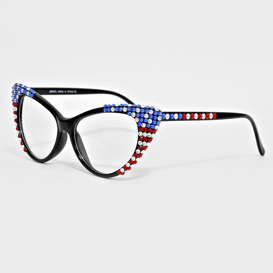 Other Rhinestone Crystal Accent Cat Eyes Sexy Secretary Retro Chic American Flag Patriotic Sun Glasses & FREE Rhinestone Crystal Case