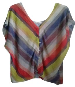Rewind Striped Stripes Chevron Bold Top orange,gray,yellow