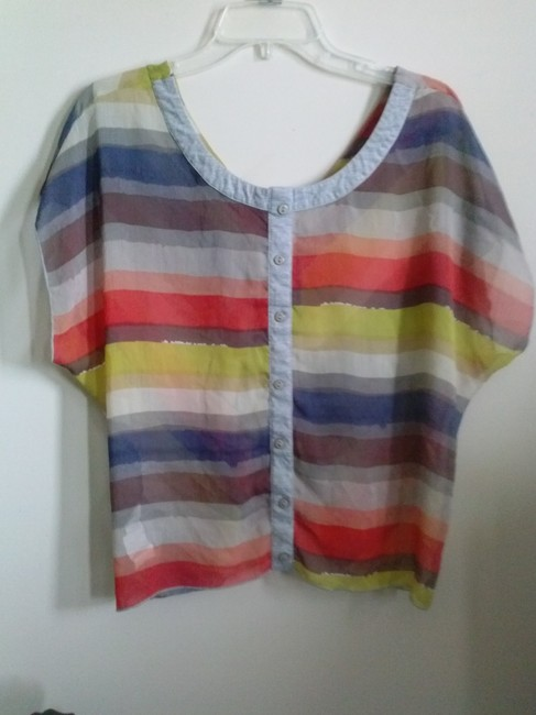 Rewind Striped Stripes Chevron Bold Bright Button Down Pullover Short Sleeves Sleeved Zig Zag Orange Coral Gray Sheer See Thru Top orange,gray,yellow