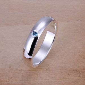 Petite Silver With Blue Bezel Set Stone Fashion Ring Free Shipping