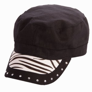Katydid Hair on Zebra Striped Cadet Military Style Cap Free Shipping
