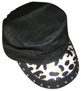 Katydid Leopard Hair on Hide Black Cadet Military Style Cap Free Shipping