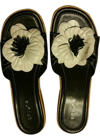 Unisa Black with White Flower Sandals