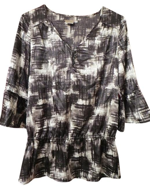Fred David Tunic Flowy Top Black and White