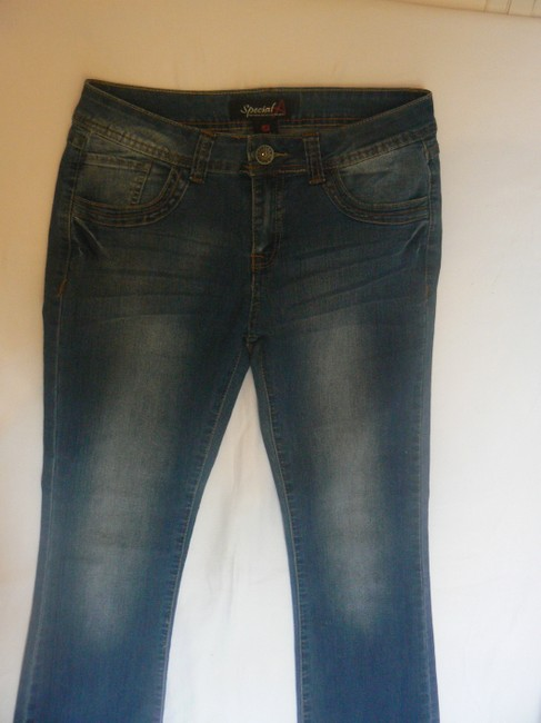 SPECIAL A Stretch 5 Pockets Size 9 Boot Cut Jeans-Dark Rinse