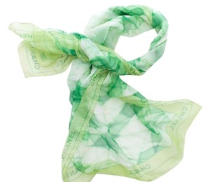 Chanel CHANEL LIME GREEN SHEER MOSAIC PRINT SILK SCARF