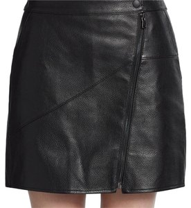 Tibi Leather Mini Textured Zipper Asymmetrical Mini Skirt Blac