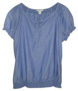 G.H. Bass & Co. Peasant Short Sleeves Top Blue