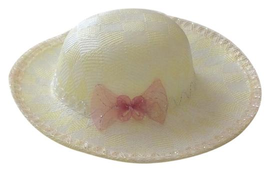 Other White / Yellow Big Round Straw Hat with Side Bow