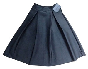 Yu Qi Pleated A-line Classy Retro Skirt Black