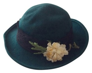 Other 100% Wool Dark Green Fedora Hat with Flower