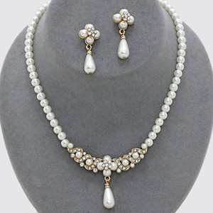 Crystal Clover Pearl Drop Bride Bridesmaid Wedding Prom Necklace And Earring Jewelry Accessory