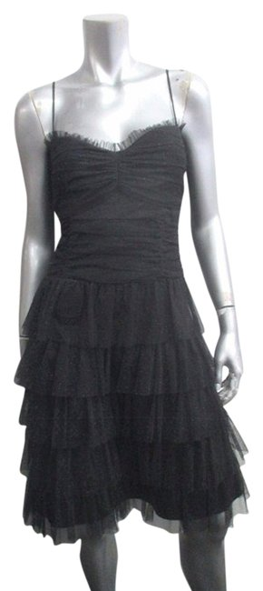 Preload https://item4.tradesy.com/images/black-vintage-90s-sparkling-midnight-ruched-tiered-m-above-knee-cocktail-dress-size-10-m-5615713-0-0.jpg?width=400&height=650