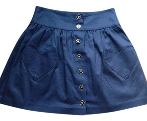 Topshop Heart Mini Skirt Navy