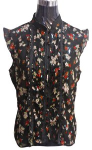 New York & Company Lace Sheer Floral Top chocolate brown