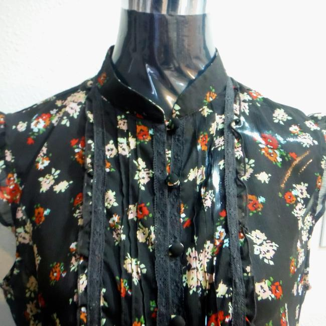 New York & Company Lace Sheer Floral Ruffle Cap Sleeve Top chocolate brown