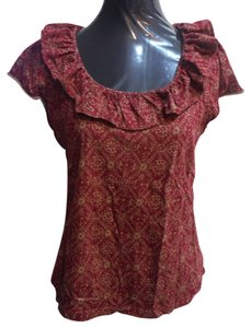 Chaps Cotton Ruffle Top brick red and tan print