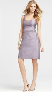Ann Taylor Purple Silk Dupioni Scoop Neck Traditional Bridesmaid/Mob Dress Size 2 (XS)