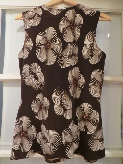 Maurices Flowy Sleeveless V-neck Top Dark Brown and Floral Print